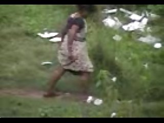Village women caught washing her ass