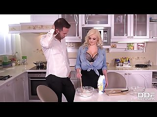 Sexy blondie Katy Jayne receives intense pussy pounding in the kitchen