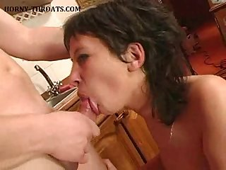 Gagging on cock