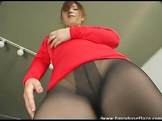 Mistress in pantyhose dances sexily for A tease