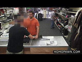 Straight dude takes double dick in the shop and gets bareback