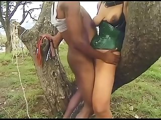 Busty ebony whore likes it rough and kinky outdoors