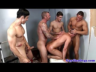 Group of hunks ass fucking each other