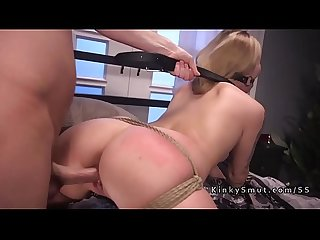 Blonde stripper rough anal fucked in bondage