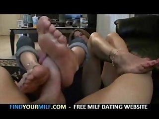 Mother and daughter footjob