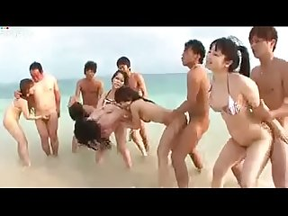 Asian teens enjoying with her boyfriends on beach amjerking com