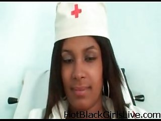 Lovely black nurse pleases herself