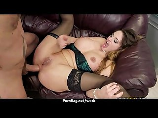 Busty babe fucking her boss in the office 20