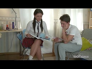 Schoolgirl learn well & get punished ass with big cock