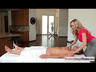 Bigtitted stepmom bj massages in taboo trio