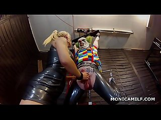 Kinky norwegian monicamilf is pegging the dirty clown upside down