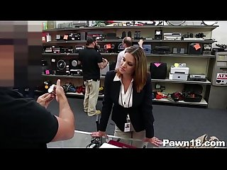 Sexy business lady nailed in pawn