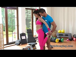 Asian fit babe fucked in gym