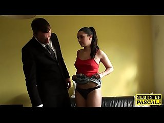 Blindfolded british sub slut doggystyled
