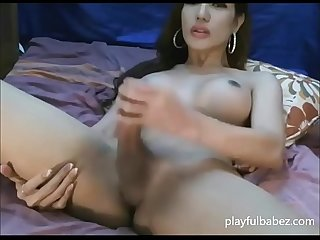 Big dick shemale wanks her cock - playfulbabez.com