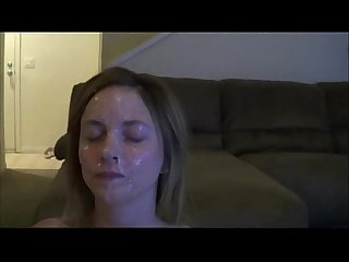 Sexy slut catches gallons of cum on her face