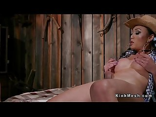 Tranny anal fucks guy in barn