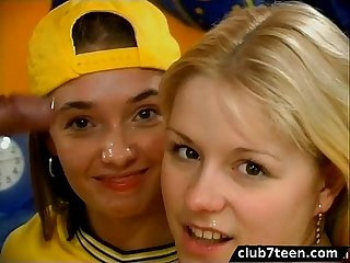 Threesome with lucky guy and two cute teens