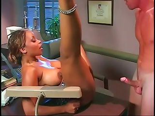 Busty black secretary seduces her boss to fuck her on his desk