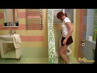 Sexy lesbian dominates hottie in bathtub dildo fucking