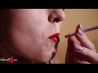 Blonde with Red Lips Suck Dick and Facial after Smoking