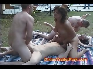 Mom and daughter have a back yard orgy