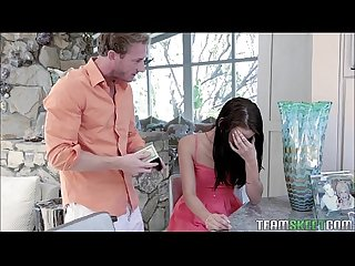 Tiny step daughter get A hard lesson from her stepdad