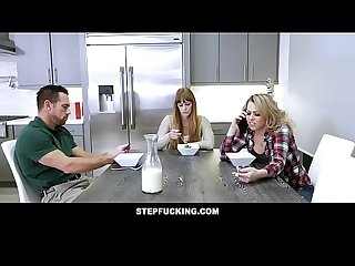 Hot blonde daughter fucked by stepdad next to mom stepfucking com