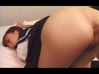 Lusty school babe in uniform doggy fucked hard in her cunt
