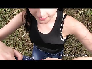 Euro amateur teen bangs in woods for cash