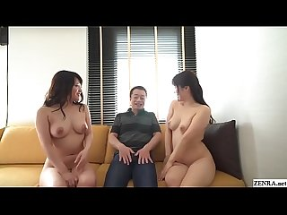 JAV FFM double blowjob and sex with cheating wives Subtitled