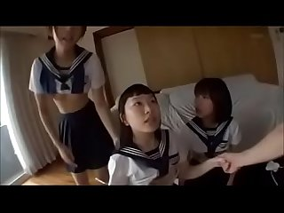 Japanese three schoolgirls foursome round ass beauty doggy style