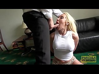 Roughly fucked MILF deepthroats her masters big fat cock