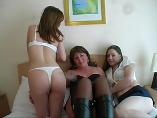 Dirty british milf and 2 younger sluts have a gangbang