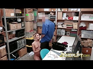 Blonde thief bends over for kinky guard's MASSIVE cock