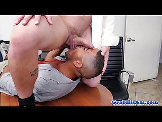 Muscled boss rimmed and sucked by black dude