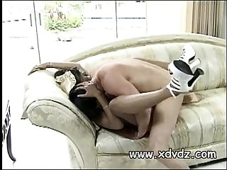 Chocolate diva feels white cock dissapear in her hairy croch riding guy u