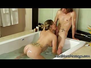 Jizz spray nuru masseuse