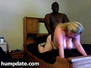 Blonde BBW sucks black cock and gets fucked