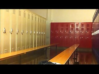 College lockeroom jerk off with swim team near by