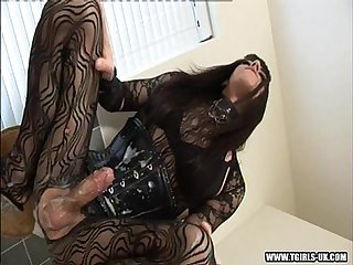 Transsexual zoe strokes her big cock