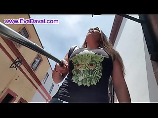 Street walking Upskirt and pee eva davai