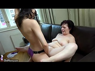 Oldnanny granny and sexy teen playing with strapon granny masturbate with toy