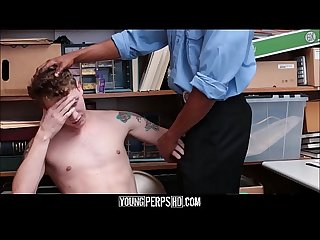 Twink caught shoplifting and fucked by black security officer