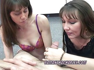 Swinging sammi sharing a cock with mature brooke