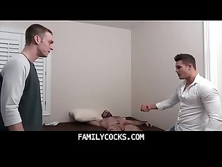 Two Brothers bareback fucking in front of daddy familycocks com