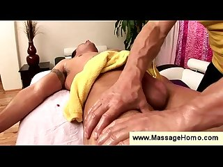 Guys penis grows during a massage