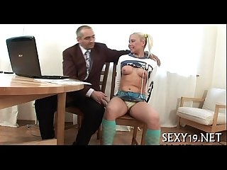 Old dominant is taming cute playgirl