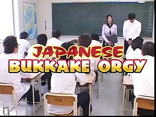 Japanese Teacher degraded and Cum covered by her Students in Class