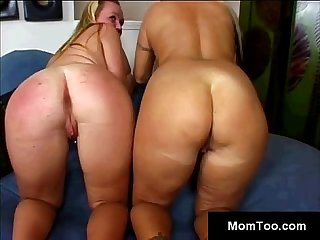 Lucky perv tastes thick stacked milf and her young blond daughter